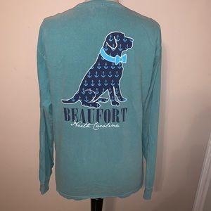 Comfort colors women's Beaufort NC dog top medium